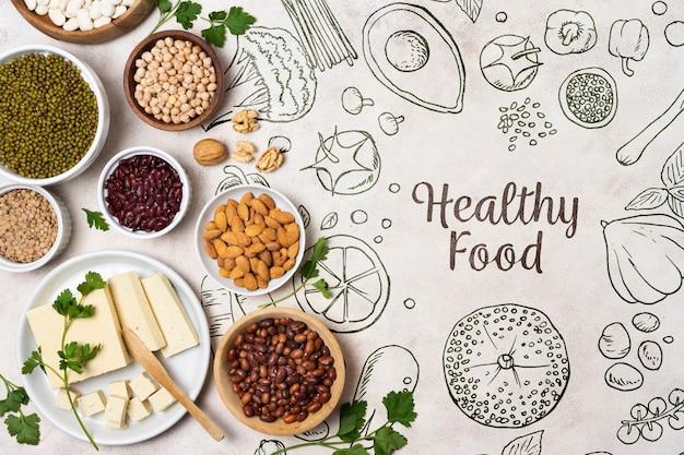 Variedade de nozes e sementes em pratos