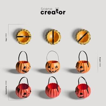 Variedade de saco de abóbora de ângulos criador de cena de halloween