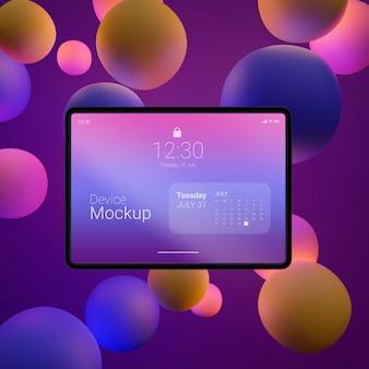 Variedade de tablet mock-up com elementos líquidos