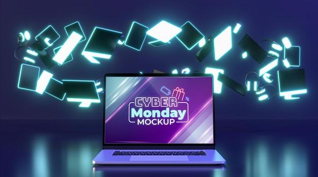 Variedade de venda de cyber monday com maquete de laptop
