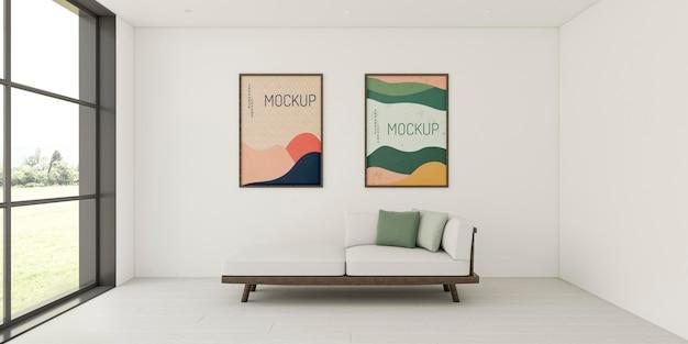 Variedade interior minimalista com maquete de quadros