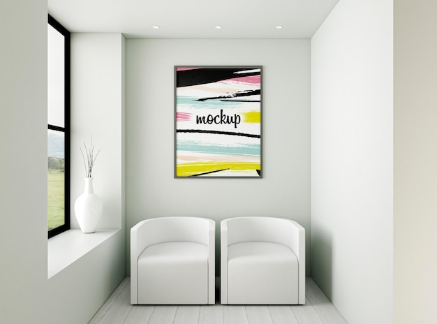 Variedade interior minimalista de vista frontal com maquete de quadro