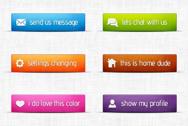 Vários botões coloridos com ícones
