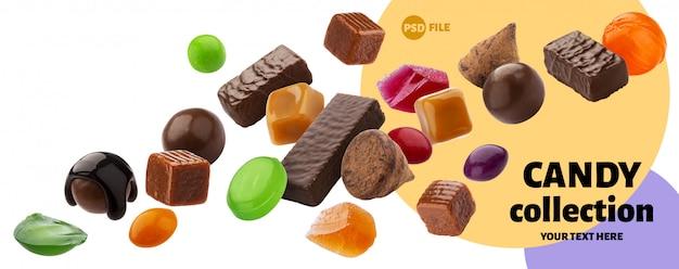 Vários doces de geléia, caramelo, pirulitos isolados