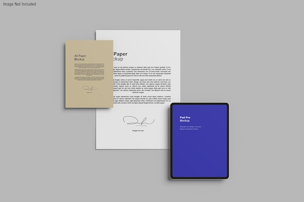 Vários documentos em maquete de renderização 3d