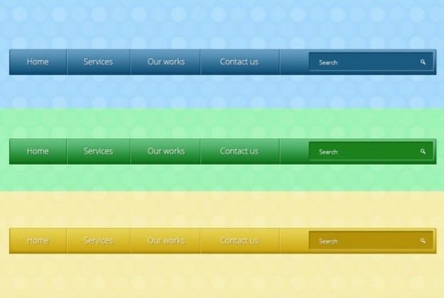 Vários menus com botões em três cores