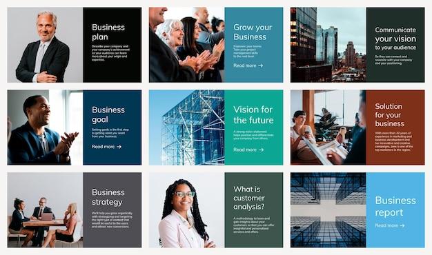 Vários modelos de apresentação de negócios psd com coleção de fotos de pessoas