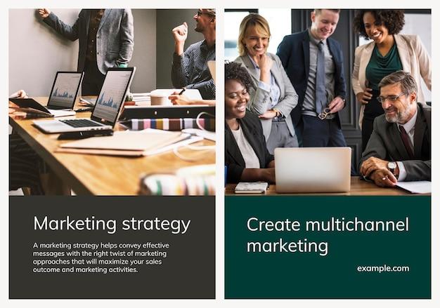 Vários modelos de marketing digital conjunto de pôsteres de negócios psd
