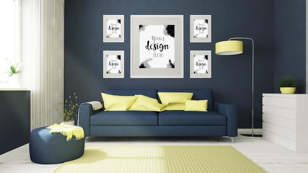 Vários modelos de quadros em renderização 3d do interior do quarto