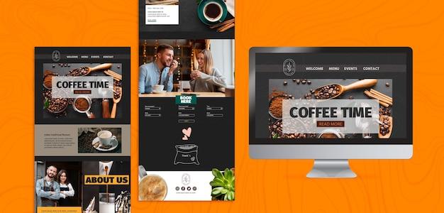 Vários modelos e telas de hora do café