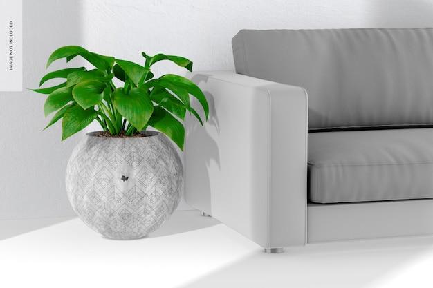 Vaso de cimento redondo grande com maquete de sofá