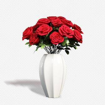 Vaso de rosas em renderização 3d isolado