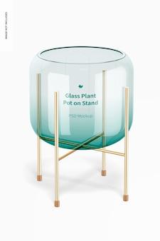 Vaso de vidro em maquete de suporte