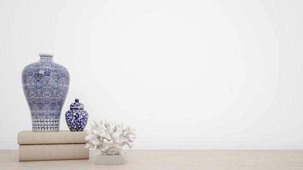 Vasos clássicos para decoração de interiores e parede branca com copyspace