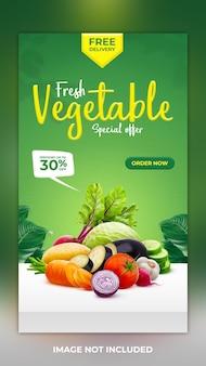 Vegetais frescos e saudáveis postagem de história em mídia social modelo de banner e postagem de história no instagram