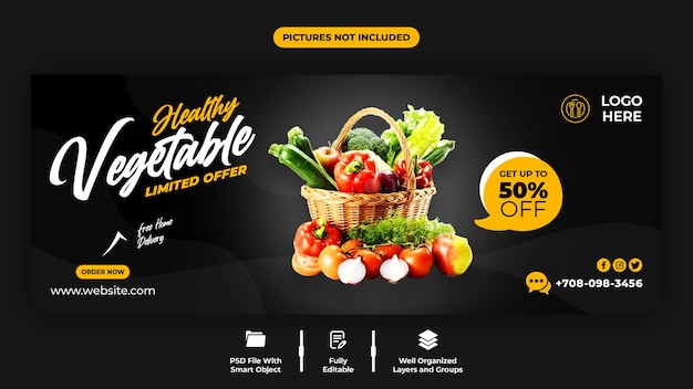 Vegetal saudável e modelo de capa do facebook