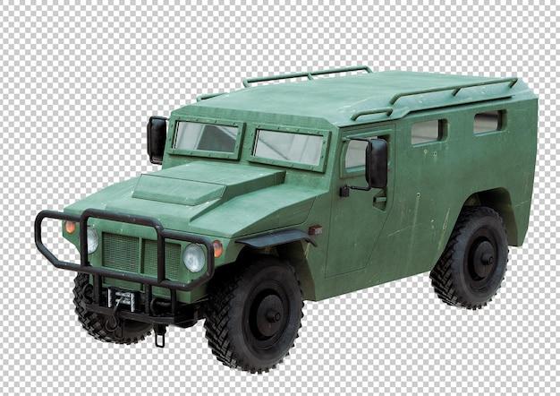 Veículo militar verde fora da estrada