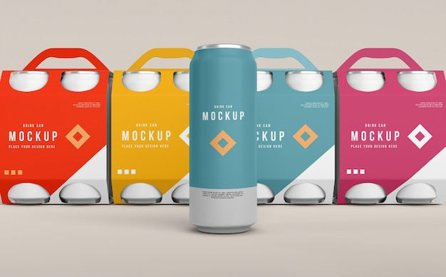 Veja de perto a maquete de embalagem de lata
