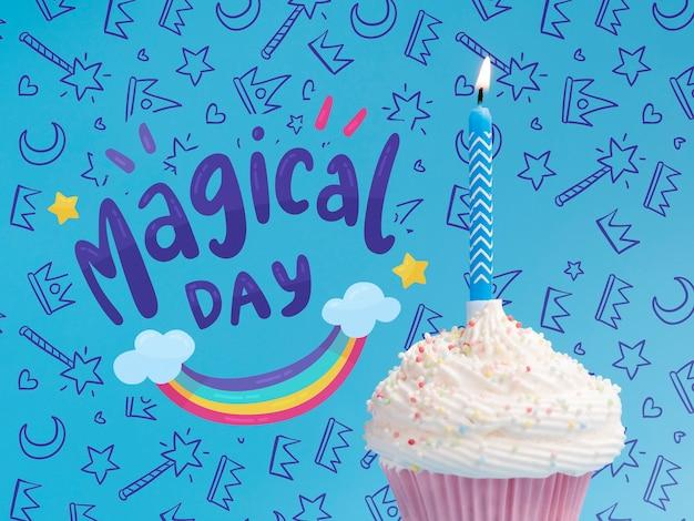 Vela acesa no bolo para festa de aniversário