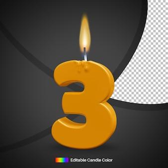 Vela de aniversário acesa com chama número 3
