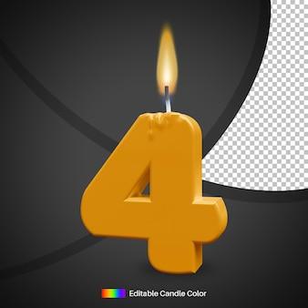 Vela de aniversário número 4 com chama de fogo para elemento de decoração de bolo