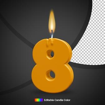 Vela de aniversário número 8 com chama de fogo para elemento de decoração de bolo
