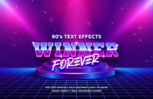 Vencedor para sempre efeito de texto retrô dos anos 80