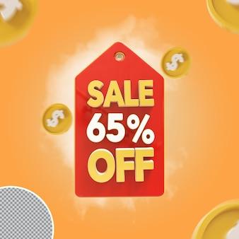 Venda 3d oferta de 65 por cento