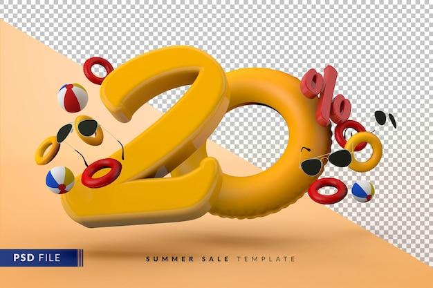 Venda amarela com 20% de desconto em acessórios promocionais de verão 3d render