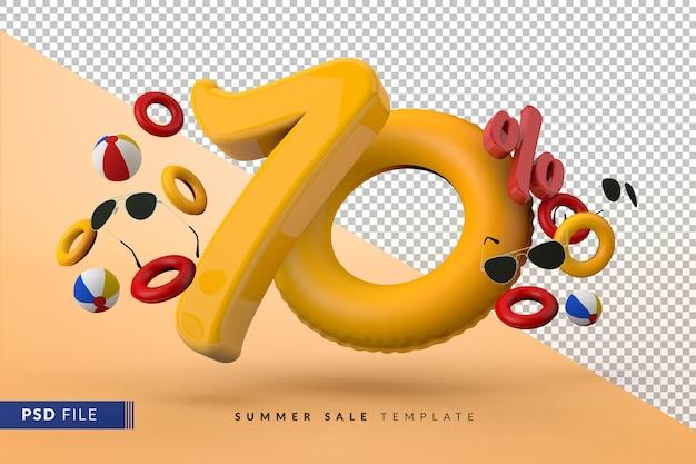 Venda amarela com 70% de desconto em acessórios promocionais de verão 3d render