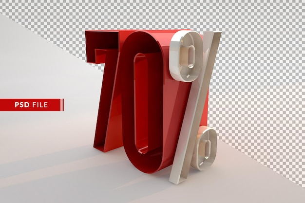 Venda com 70% de desconto no conceito promocional 3d isolado