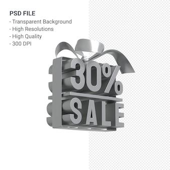 Venda de 30% com arco e fita projeto 3d isolado