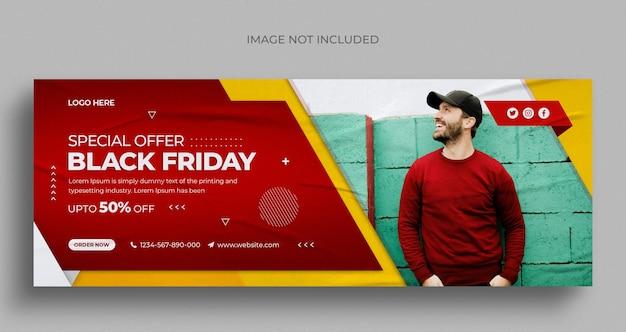 Venda de black friday nas mídias sociais, no instagram, no banner da web ou no modelo de capa do facebook
