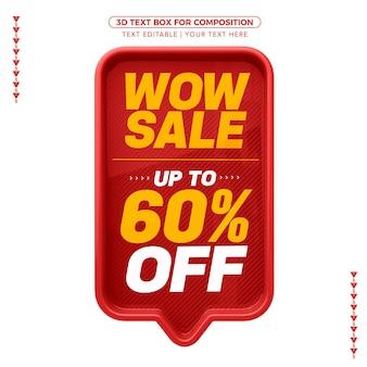Venda de caixa de texto 3d vermelha com até 60% de desconto