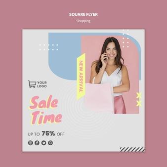 Venda de compras de panfleto quadrado modelo