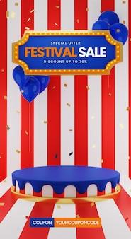 Venda de festival com balão e confetes