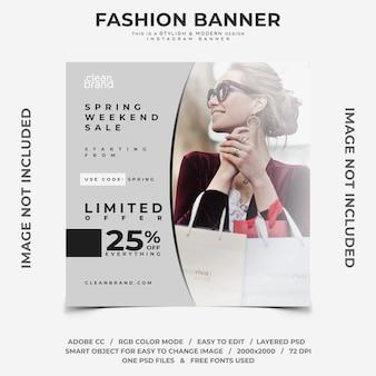 Venda de fim de semana de primavera moda desconto instagram banner