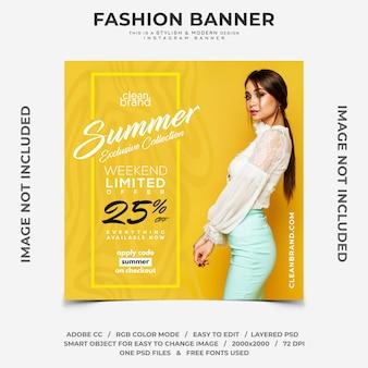 Venda de fim de semana de verão moda desconto instagram banner