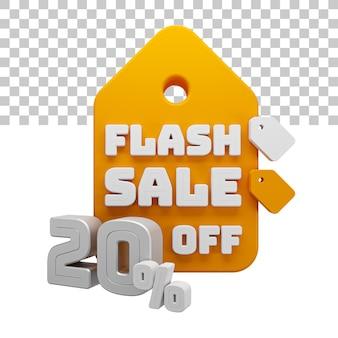Venda de flash de renderização 3d com 20% de desconto no texto