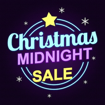 Venda de meia-noite de natal em estilo neon design