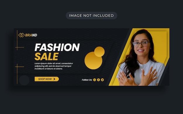 Venda de moda amarela com desconto especial no design da capa do facebook