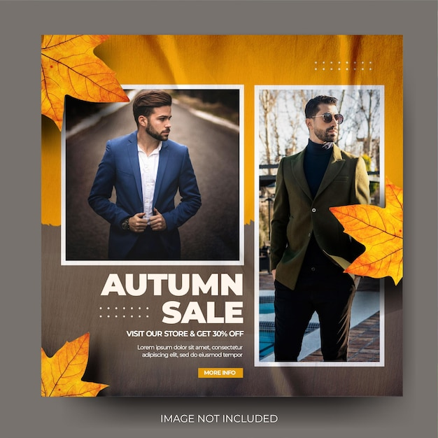 Venda de moda outono masculina instagram post feed de mídia social