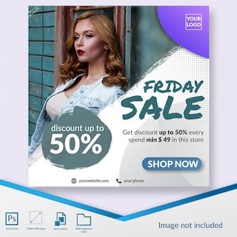 Venda de moda venda sexta-feira especial social media post template