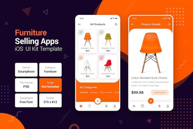 Venda de móveis on-line e entrega em domicílio aplicativos móveis