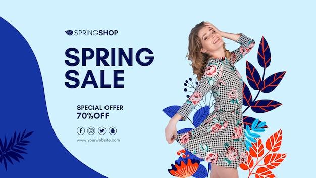 Venda de primavera banner com mulher e folhas