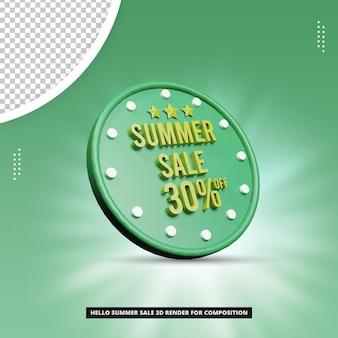 Venda de verão 30% oferece conceito realista de renderização em 3d