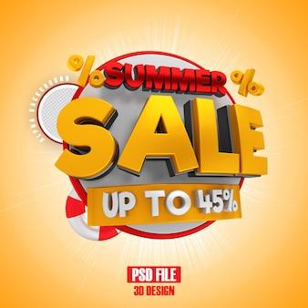 Venda de verão até 45 banner de renderização em 3d