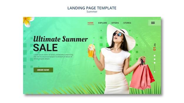 Venda de verão de design de página de destino