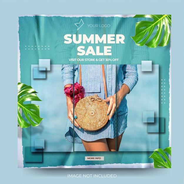 Venda de verão de moda instagram banner azul moderno de mídia social