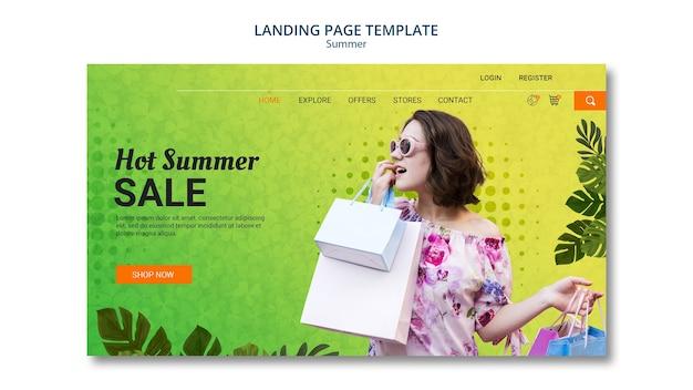 Venda de verão de modelo de página de destino